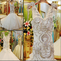 New arrival V-neckline heavy beaded cheap mermaid bling wedding dress CWF1817