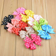 "2015 3"" high quality character handmade Wholesale grosgrain ribbon bow flowers making rose hair bows flower for baby headbands"