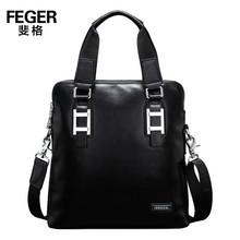 FEGER High Quality Cow Leather Bag for Tablet Slim Leather Men Bag