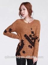 hermoso encaje bordado suéter de la mujer