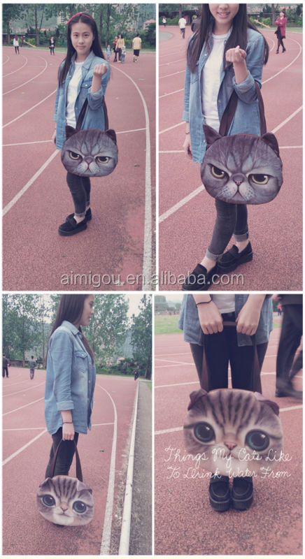 Top quality hot design cat face wholesale cat face fashion design school bag for girl