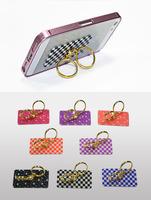 MelesPlus factory best price custom PC plastic cell phone stand with 2 finger rings 360 degree rotation