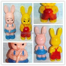 customized knickerbocker plastic bunny rabbit, customized plastic animal toys, plastic animal toys for decoration