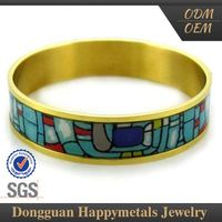 Stainless Steel Fashion Designs Oem Service Cloisonne Bangle Bracelet