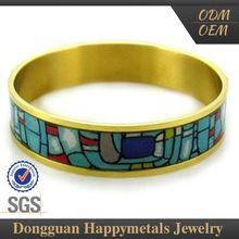 Stainless Steel Fashion Designs Oem Service Cloisonne Bangle Bracelet