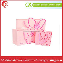 Pink Paper Gift Packaging Bag with Ropes Handle