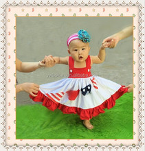 Baby girls dresses 4th of July flags dress wholesale children's boutique clothing baby girls summer boutique dresses