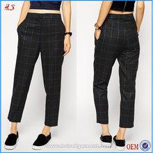 2015 wholesale most fashion plaid slim leg pant deisgns casual chino women's pants