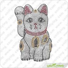 Fortune cat custom rhinestone iron on transfer