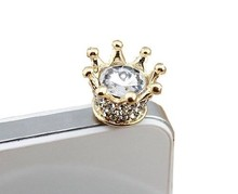 New Fashionable Bling Crown 3.5mm Earphone Jack Dustproof Plug Ear Dust Cap for Iphone 4, 4s ,5, 5s