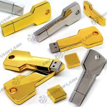 Golden metal key shape 16 gb flash drive usb 3.0