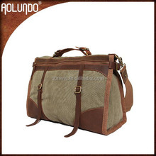 Fashion Guangzhou factory OEM men travel canvas leather duffel bag