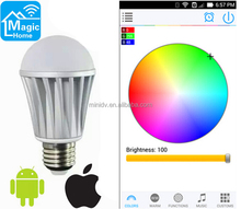 Newest Built-in WiFi Module Smart Lighting Music Flash Color Change WiFi LED Bulb 7W With No Need Of External WIFI Controller