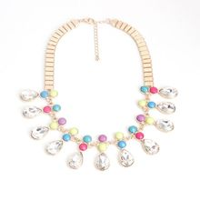 Qingdao European and American trade jewelry manufacturers, wholesale gemstone necklace colorful fluorescent color drops