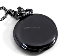 Medium Vintage Lead black Smooth Face Locket Pocket Watch Necklace