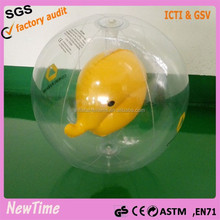 small inflatable transparent ball with animal inside