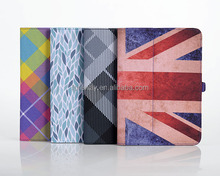 printed fabric folio cover for ipad mini elastic strap holder for ipad mini, custom universal cover for 7 inch tablet