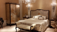 Vintage lacquer wooden Bed, Antique Reproduction Bedroom Furniture Set, Elegant Gold Painting Palace Lacquer Furniture