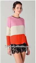 2012 Lady's latest fashion design stripe cotton t shirt