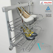 Wardrobe and cabinet 2-layers slide out shoe rack with Kingslide slide
