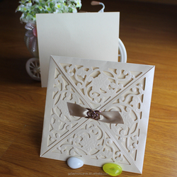 New Products Square Shape Luxury Die Cut Invitations with Envelope