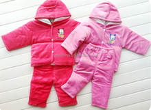 2015 hot sale winter thicken keep warm baby knitted set wholesale price high quality China supplier