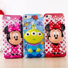 3D Cute cartoon Minnie Mouse Three eyes monster mirror Movable hard PC case for iPhone5 5S stand case
