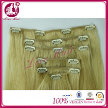 Wholesale monglian human hair colored ombre clip in hair extensions #613 one piece clip in human hair extensions