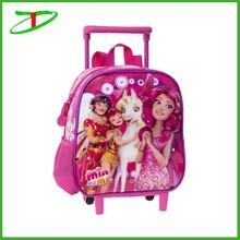 2015 new trolley school backpack for girls, kids school wheel bags