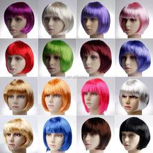 Sexy Women Cosplay Colorful BOBO Head Style Straight Bang Short Wigs Hair Cap Hairnet