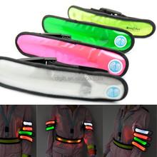 Colorful nylon super bright LED wristband led reflective wristband warning safety LED armband