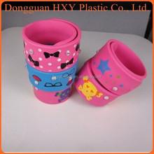 HXY cheap debossed silicone wrap ,hot selling promotional custom slap band,wholesale silicone slap wristband