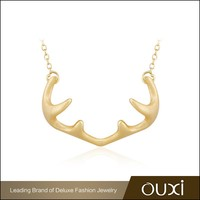 OUXI amazing creatures,deer horn shaped silver with gilding necklace Y10035