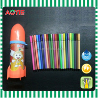 New unique and creative rocket style package of 24pcs felt tip color pen for children
