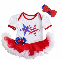 Baby Oh my Star and Stripes Star Bow White Red Bodysuit Tutu and Headband