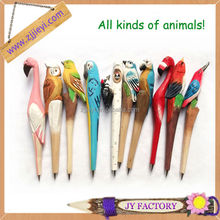 Wholesale Carved Animal Wooden Pen,Hand carved Weird Pens,interesting anime figure sculpted pen