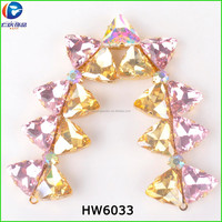 Too much trangle crystal glass connect to V chains for accessories for shoes and garment