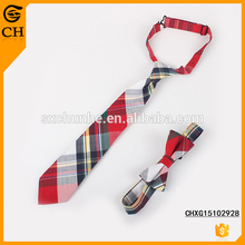Chunhe custom short cycle red striped cotton kids pre tied necktie with bow tie