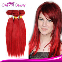 2015 new products virgin Indian remy wavy red hair weave