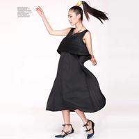Pakistani newest style women pleated clothing maxi long dresses leisure fashion vest drape dress
