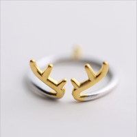 Wholesale unique color antlers opening artifical finger ring for girls