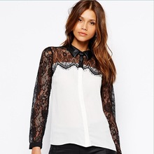 women blouse 7019 # 2015 Hitz Korean lace stitching chiffon shirt female long-sleeved T-shirt lapel blouse