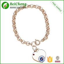 Ingrosso nome bracciale personalizzato placcato in oro 14k birthstone braccialetto cuore s6-0111