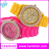 Beautiful diamond japan quartz movement geneva watch with silicone band and cheap price
