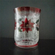 Colorful Hand painted bloom crackle glass candle holder with red rim