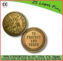 Free artwork design custom quality Saint Michael To Protect Bronze Antique Challenge Coin