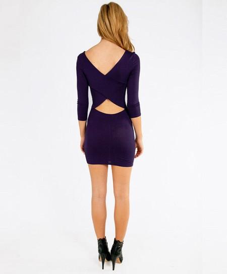 Sexy women o neck 3 4 sleeve cross backless little tight black mini