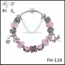 Factory direst price metal bracelet wholesale flower & dragonfly charms pink butterfly crystal bead fit DIY handmade Jewelry