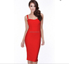 Sexy Spaghetti Strap Black, Light Blue, Red Knee Length Bodycon Bandage Cocktail Dress Women Celebrity Party Dress 2015