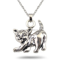 Lovely Cute Antique Silver Plating Zinc Alloy Fat Cat Animal Pendant necklace